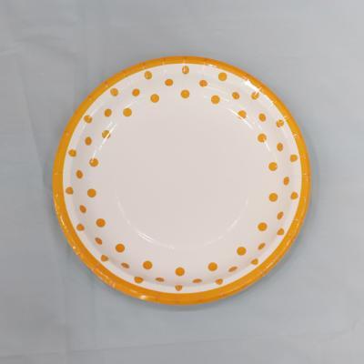 23cm 라인도트 파티접시 (오렌지) 6입