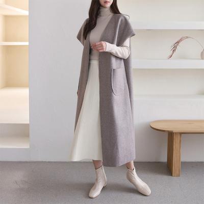 Woolen Fabric Long Vest