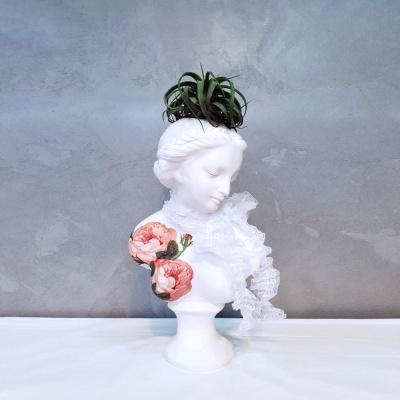 냅킨아트 장미 중형 비너스여인 석고상화분 38cm내외