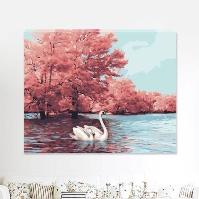 DIY 명화그리기 [ 가을과 백조한쌍 ] - 40cm*50cm
