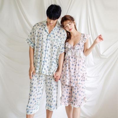 [쿠비카]Y넥 레이스 민소매 투피스 커플잠옷 WM256