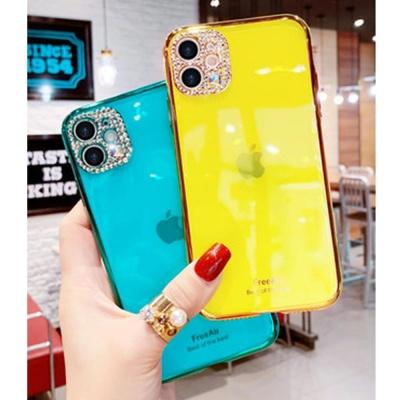 아이폰11 pro max 큐빅 렌즈보호 형광컬러 젤리케이스