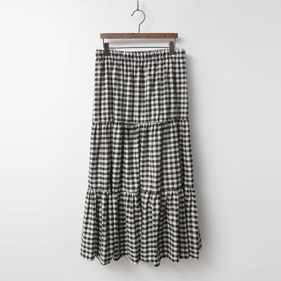 Gingham Check Cancan Long Skirt