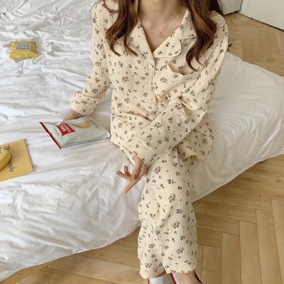 여성 홈웨어 잠옷 세트 파자마 톤 잔패턴 홈웨어 면
