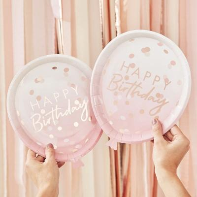핑크 풍선모양 happy Birthday 종이접시 8개 GR