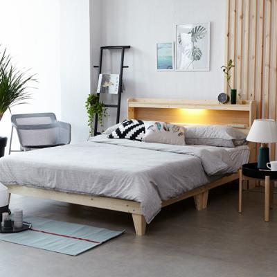 모닝듀 원목 LED조명 침대 퀸 (라텍스포켓매트) OT035