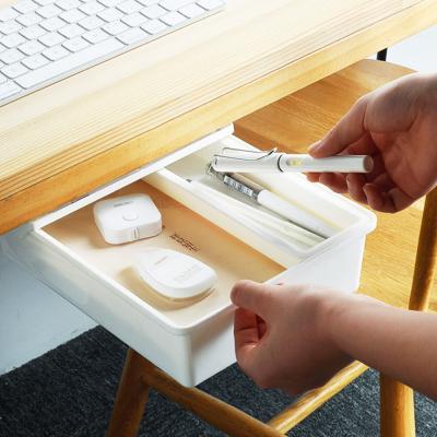 부착식 슬라이딩 책상 소품 서랍 수납 정리함 (중형)