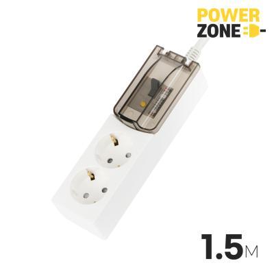 [파워존] 누전차단 고용량멀티탭 2구 1.5M 화이트