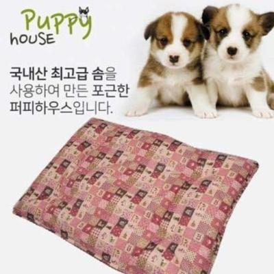 강아지방석 퍼피하우스 플래드 평방석 핑크 L