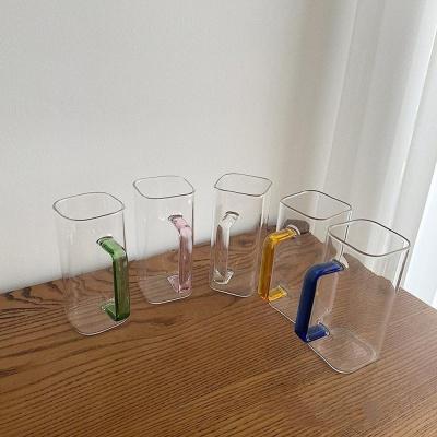 홈카페 에이드 커피 파스텔핸들 손잡이 투명 유리잔