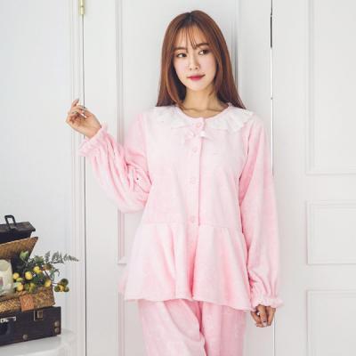 [쿠비카]스템프양 극세사 투피스(핑크)여성잠옷 W116