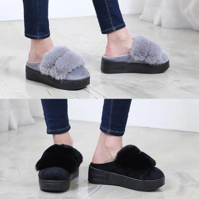 [애슬릿]발 편한 통굽 안감 털 슬리퍼 5cm