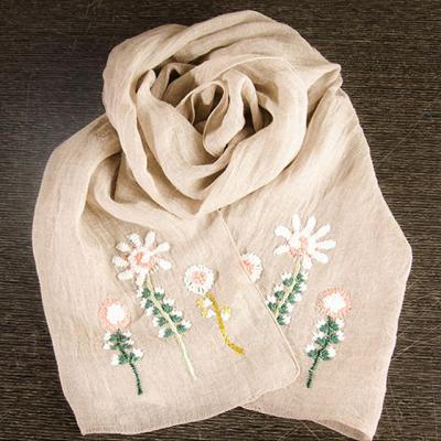 베이지에 핑크와 흰색꽃 손자수 스카프