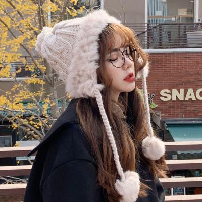 파옹 귀달이 방울 털 모자 방한모자