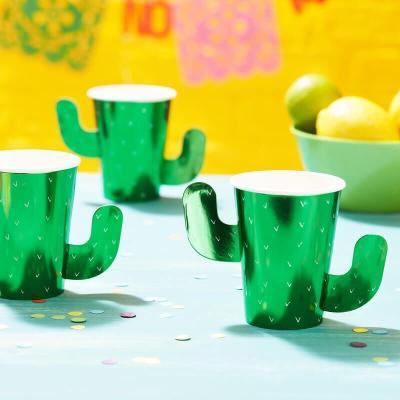 만세 선인장 입체 종이컵 8개 Cactus Paper Cups GR