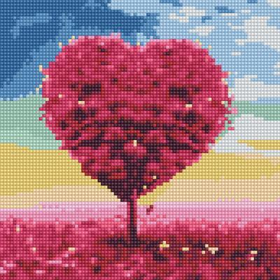 아이엠미니 DIY 보석십자수 25x25_핑크하트 나무