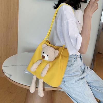 여성 숄더백 곰인형 에코 쇼퍼백 캔버스 가방 핸드백