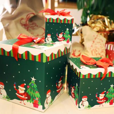 크리스마스 3단 종이상자 세트 (산타눈사람)
