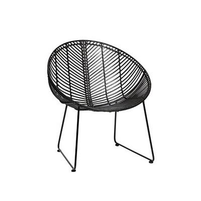 [Hubsch]Chair, round, rattan, black 118014 안락의자