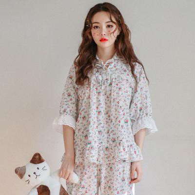 [쿠비카]플라워 프린팅 요루면 투피스 여섬잠옷 WM161