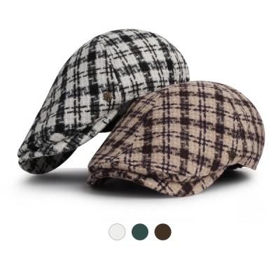 [디꾸보]울 체크 배색 헌팅캡 플랫 모자 HN668