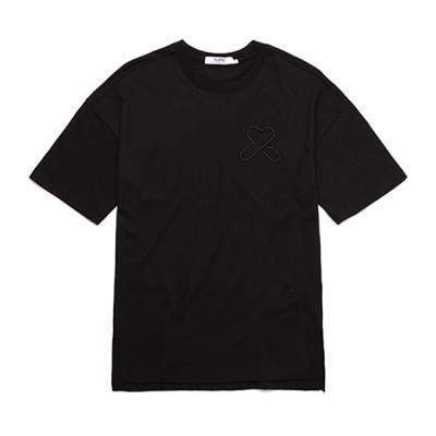 LOGO OVER FIT T-SHIRTS (BLACK)  무지티 자수티