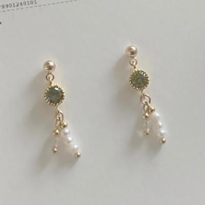 올리브 큐빅 & 담수진주 귀걸이 (귀찌 가능)