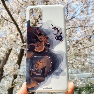 전통 명화 검은 구름 운룡도 좌형 백색 휴대폰 케이스