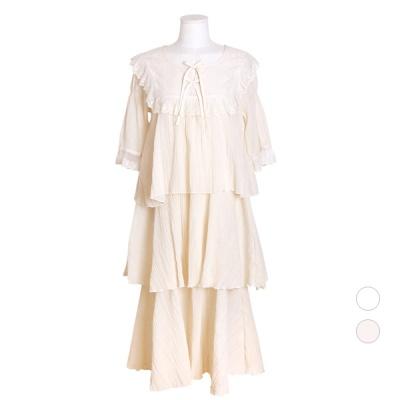 [쿠비카]3단 캉캉 요루면 원피스 여성잠옷 W558