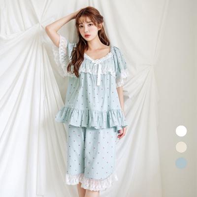 [쿠비카]자수 레이스 넥 5부 투피스 여성잠옷 W596
