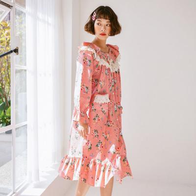 [쿠비카]순면 긴소매라운드 원피스 여성잠옷 W404