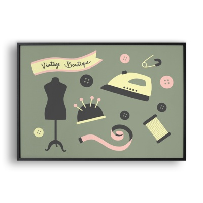 vintage boutique / 일러스트 액자