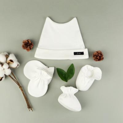 [조아뜨] 퓨어 3종 SET 모자 손발싸개 크림 사계절