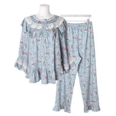 [쿠비카]라운드넥 망사레이스 투피스 여성잠옷 W679