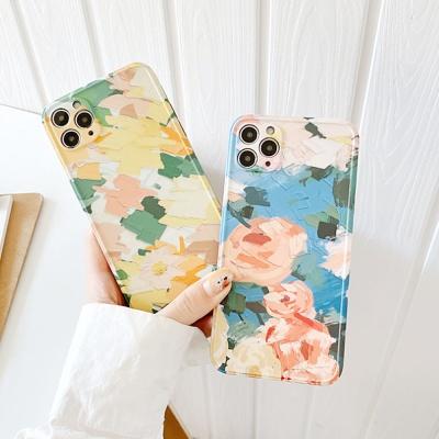 아이폰11 promax 프로 유화 꽃 카메라보호 슬림케이스