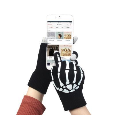 추운겨울 필수품 스컬 프린팅 스마트폰 보온 터치장갑