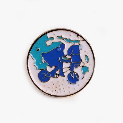 푸른 자전거 여행 금속 뱃지