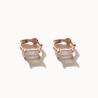 제이로렌 M03433 로즈골드 직사각 큐빅 원터치 귀걸이