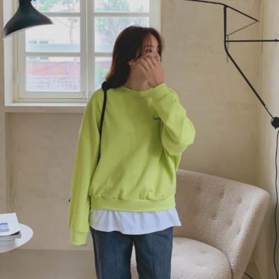 여성 여자 맨투맨 티셔츠 비오크 레이어드 박스