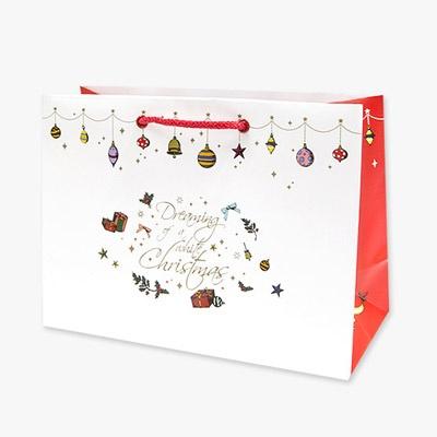 크리스마스 종이쇼핑백-리본
