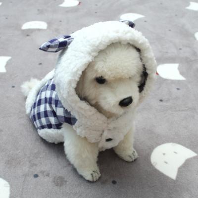 [펫딘]체크 조끼 솜 버튼 강아지옷 후드 블루