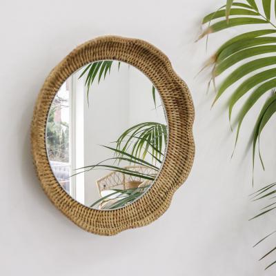 포홈 라탄 플라워 거울 (대)