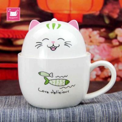 고양이 시리얼 뚜껑 머그컵 350ml