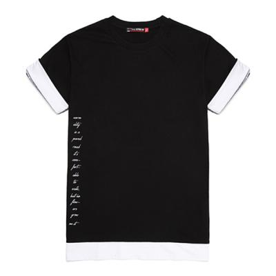 [라지크]SIDE LETTERING layered T-Shirt (BLACK)