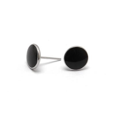 실버 925 크렌리 블랙 라운드 귀걸이