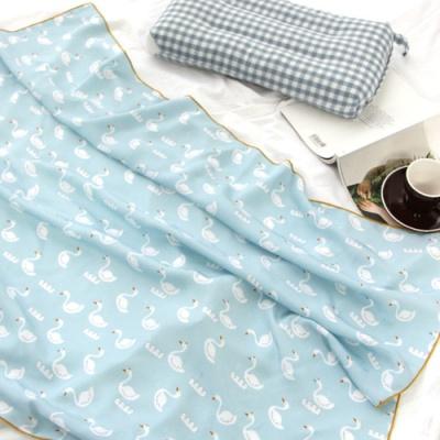 백조 인견 아기 여름이불 블루