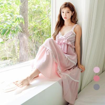 [쿠비카]가슴 셔링 레이스 밴딩 원피스 여성잠옷 W563
