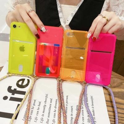 아이폰SE2 8 7PLUS 네온 카드 스트랩 핸드폰줄 케이스