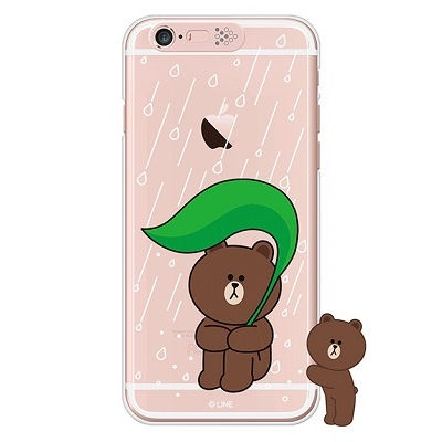 [SG DESIGN]iPhone6/ iPhone6 Plus 라인프렌즈 브라운 RAIN LIGHT UP Case-Rose Gold(하드타입/라이팅)