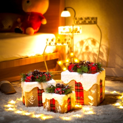 눈쌓인 빨간 리본 선물상자 3종세트/크리스마스트리